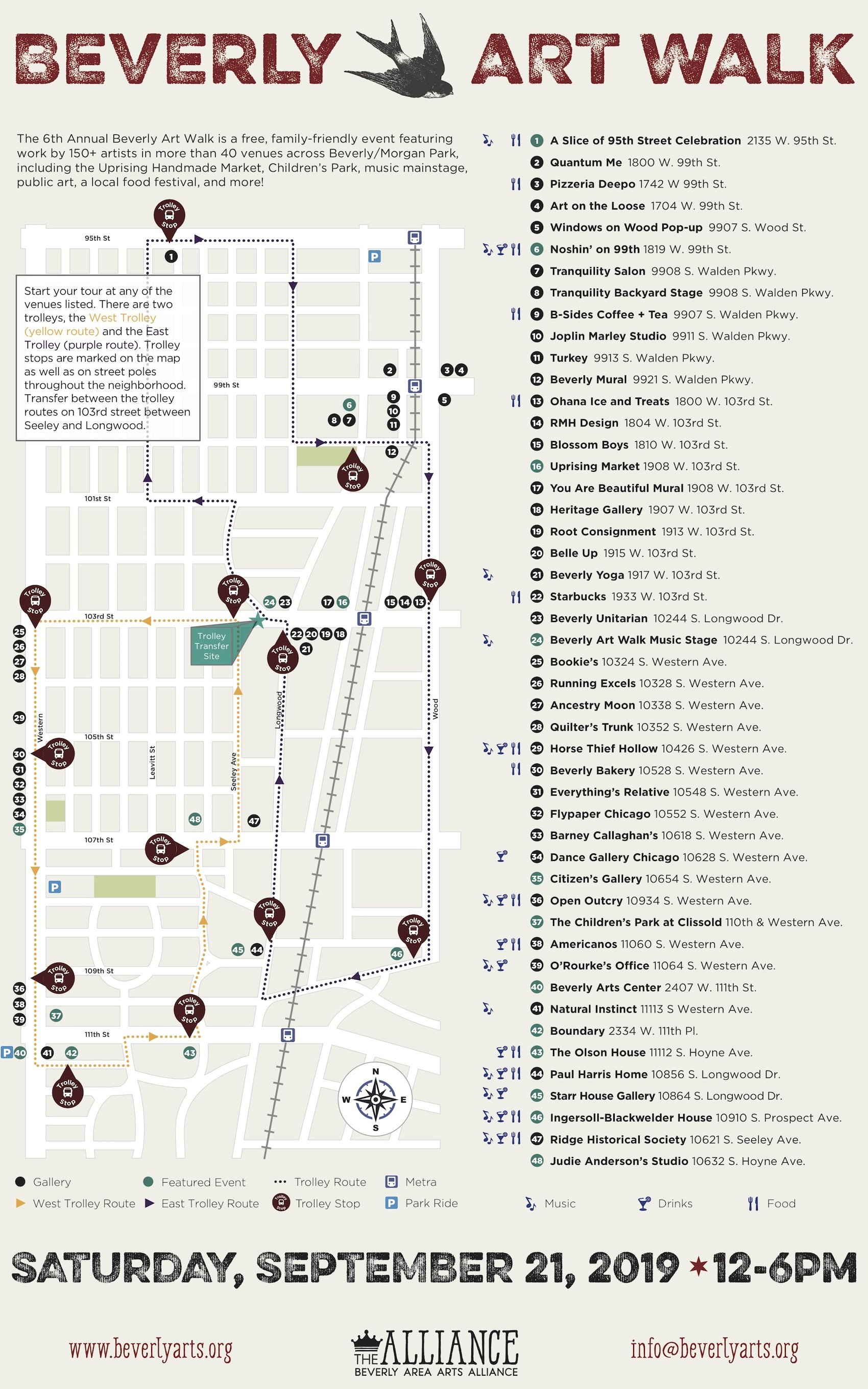 map of the 2019 Beverly Art Walk