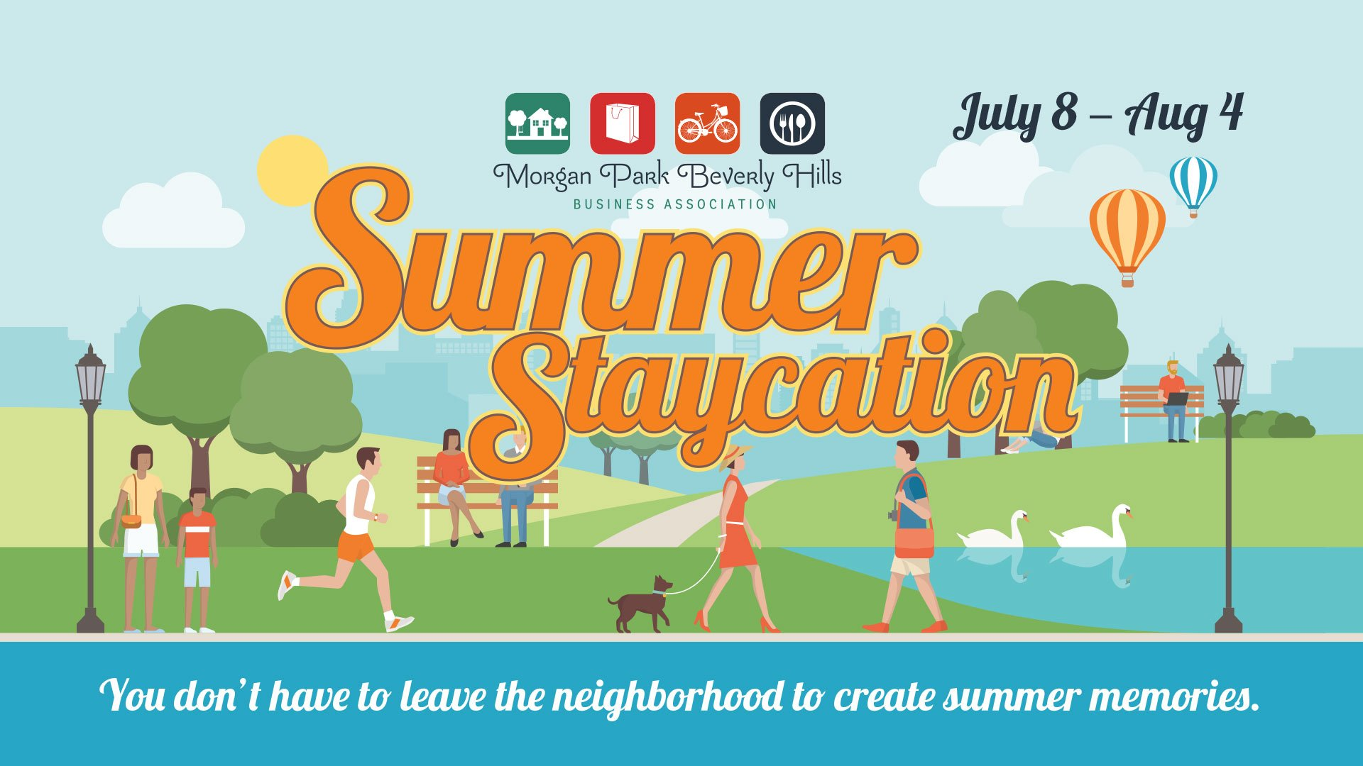Illustration promoting the MPBHBA Summer Staycation taking place July 8 to August 4