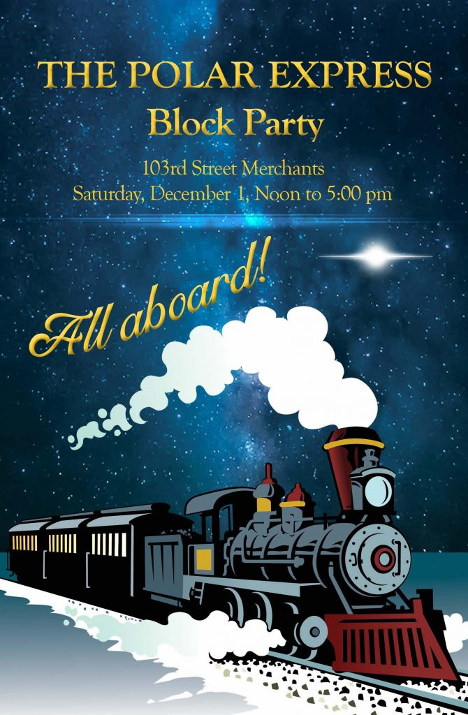 Polar Express Block Party shopping guide with Illustration of old steam locomotive in the snow